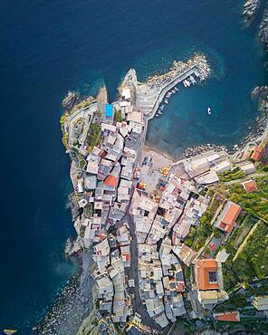 Aerial view, townscape from above with harbour, Vernazza, Cinque Terre, Liguria, Italy, Europe
