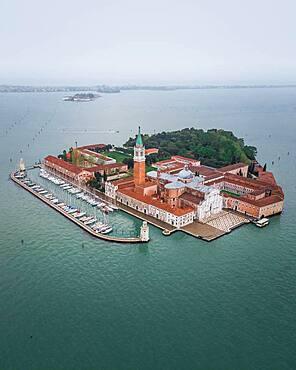 Aerial view, Basilica San Giorgio Maggiore, Venice, Veneto, Italy, Europe