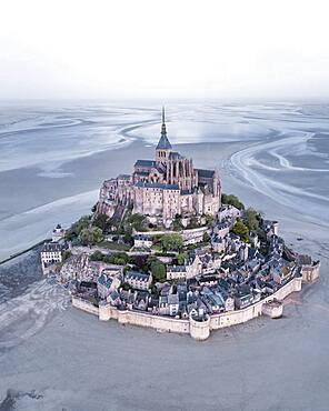 Aerial view, Le Mont-Saint-Michel at low tide, Manche Department, Normandy, France, Europe