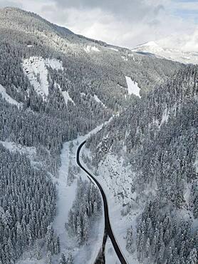 Aerial view, road through snowy valley, Salzkammergut, Austria, Europe
