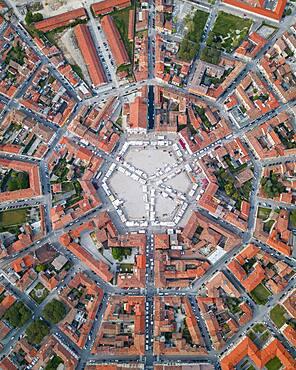 Aerial view, star-shaped city, Palmanova, Northern Italy, Italy, Europe