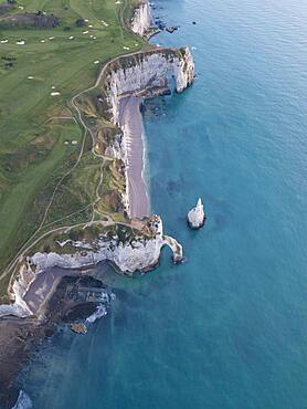 Aerial view, Aiguille d'Etretat, cliffs, chalk cliffs of Etretat, Seine-Maritime department, Normandy, France, Europe