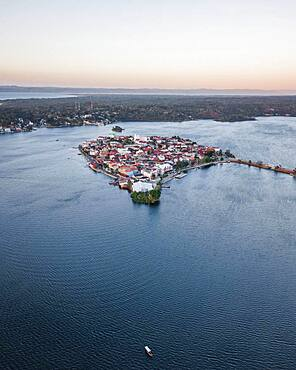 Aerial view of Flores at sunset, Flores, Guatemala, Central America
