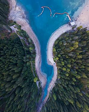 Aerial view, pointed part of the Pragser Wildsee from above, Lake Prags, South Tyrol, Italy, Europe