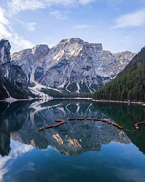 Aerial view, Lake Prags Lake with boats, Lake Prags, South Tyrol, Italy, Europe
