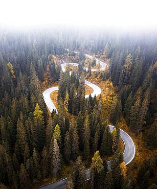 Aerial view, winding road in autumn with fog, Passo di Giau, Italy, Europe