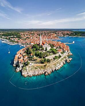 Aerial view, Old town with the church of St. Euphemia, Rovinj, Istria, Croatia, Europe