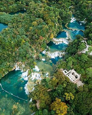 Aerial view, cascades, Krka National Park, Sibenik-Knees Region, Dalmatia, Croatia, Europe