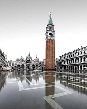 St. Mark's Square at high water, Venice, Italy, Europe