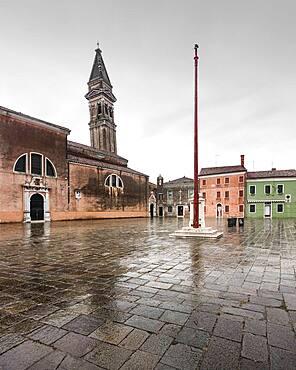 Slate church tower Parrocchia di San Martino Vescovo, Burano, Italy, Europe
