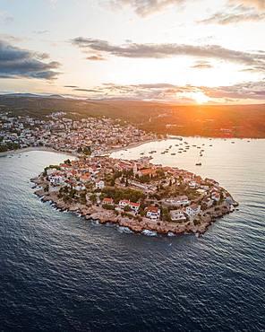 Aerial view, Primosten at sunrise, Croatia, Europe