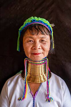 Long necked woman with several brass rings around her neck, Lake Inle, Myanmar, Asia