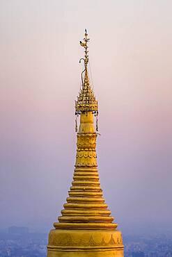 Gold peak of the Su Taung Pyae pagoda, Mandalay Hill, Myanmar, Asia