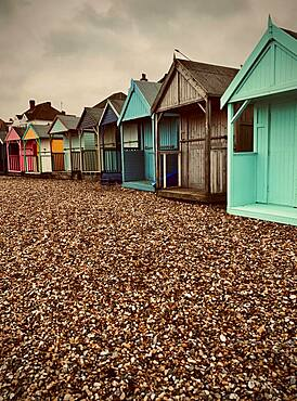 Bathing huts on the beach of Herne Bay, Great Britain