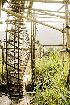 Irrigation of rice paddies with water wheels made of bamboo, Vietnam, Asia
