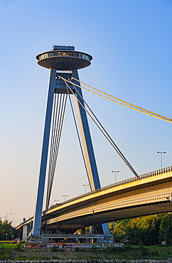 Restaurant UFO on the bridge Novy most, New Bridge, over the Danube, Bratislava, Slovakia, Europe