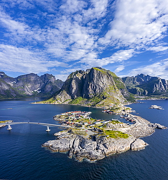 Aerial view, Hamnoy, Reinefjord with mountains, Moskenes, Moskenesoey, Lofoten, Norway, Europe