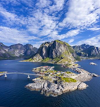 Aerial view, Hamnoy, Reinefjord with mountains, Moskenes, Moskenesoey, Lofoten, Norway, Europe