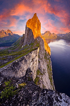 Dramatic clouds, evening mood, steep mountain Segla, fjord Mefjords with mountains, island Senja, Troms, Norway, Europe