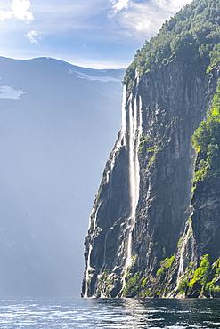 Waterfall Seven Sisters, Geirangerfjord, near Geiranger, More og Romsdal, Norway, Europe