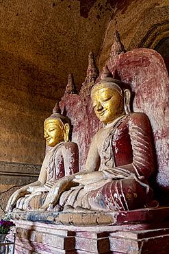 Sitting buddhas, Dhammayan Gyi Temple, Bagan, Myanmar, Asia