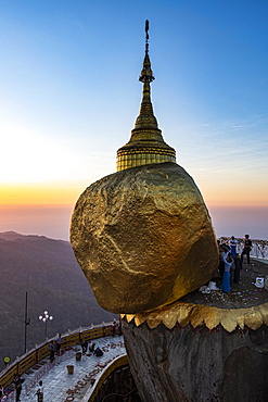Kyaiktiyo Pagoda, golden rock at sunset, Mon state, Myanmar, Asia