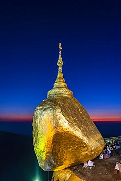 Kyaiktiyo Pagoda, golden rock after sunset, Mon state, Myanmar, Asia