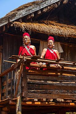 Old Kayan women, Kayah village, Loikaw area, Kayah state, Myanmar, Asia