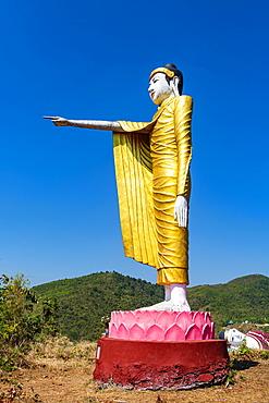 Large standing buddha on a hill, Win Sein Taw Ya outside Mawlamyine, Mon state, Myanmar, Asia