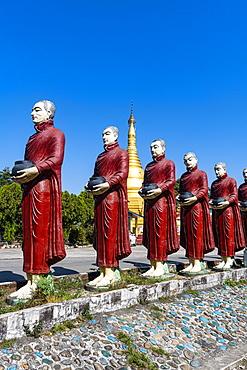 Monk statues lining up, Aung Zay Yan Aung Pagoda, Myitkyina, Kachin state, Myanmar, Asia