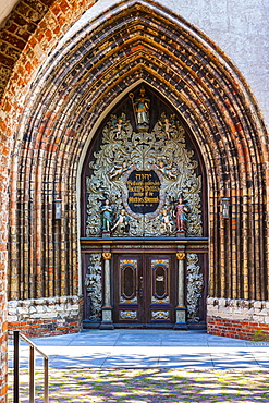 Gate of the St. Nikolai Church at the old market, Stralsund, Baltic Sea, Mecklenburg-Western Pomerania