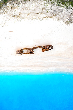 Beach shipwreck Navagio Beach drone shot bird's eye view, Zakynthos, Greece, Europe