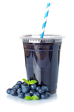 Blueberries Berries Smoothie Fruit Juice Drink Juice Blueberries in plastic cup isolated against a white background