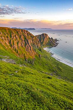 Evening atmosphere, beach and sea, hiking to the mountain Matinden, near Stave, Nordland, Norway, Europe