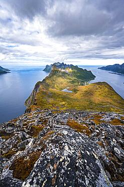 Mountain panorama, fjord and mountains, in the back Fjordgard and mountain Segla, view from mountain Barden, Senja, Norway, Europe