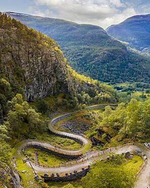 Old road Vindhellavegen, Kongevegen, Old Royal Road over Filefjell, near Vindhella, Norway, Europe