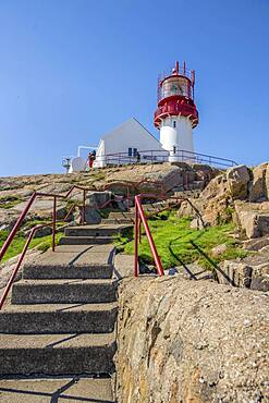 Red-white Lindesnes lighthouse, Lindesnes, Norway, Europe