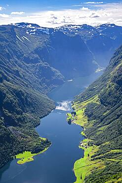 View from the top of Breiskrednosi, mountains and fjord, Naeroyfjord, Aurland, Norway, Europe
