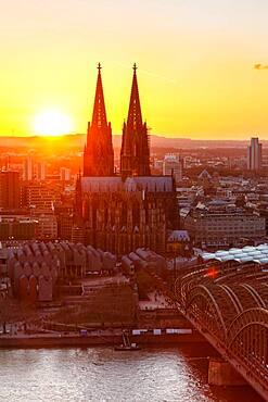 Cologne Cathedral Church Skyline City Sunset Bridge Rhine Hohenzollern Bridge in Cologne, Germany, Europe