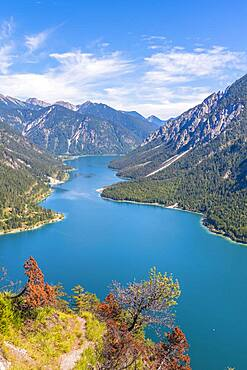 View of Lake Plansee, Schoenjoechl at the back, Ammergau Alps, Reutte district, Tyrol, Austria, Europe