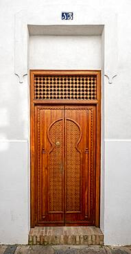 Moorish style wooden entrance door, Old Town, Cordoba, Andalucia, Spain, Europe