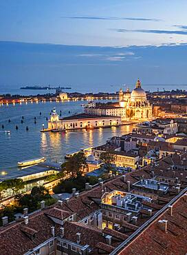 Evening atmosphere, sunset at the Grand Canal, Basilica Santa Maria della Salute, Venice, Veneto region, Italy, Europe