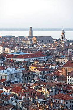 View from the bell tower Campanile di San Marco on numerous churches and houses of Venice, city view of Venice, Veneto, Italy, Europe