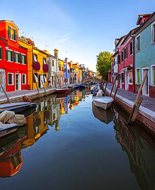 Canal with boats, Colorful houses, Colorful facades, Burano Island, Venice, Veneto, Italy, Europe