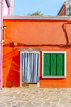 Orange house, colorful facade, Burano Island, Venice, Veneto, Italy, Europe