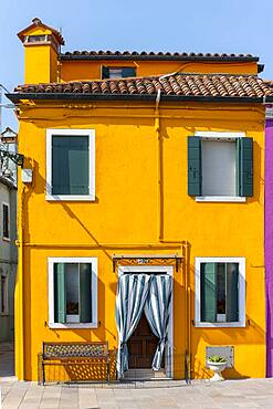 Colorful houses, colorful facade, Burano Island, Venice, Veneto, Italy, Europe
