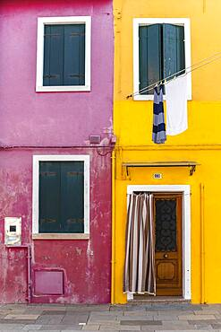 Door and window of a yellow and pink house, colorful houses, colorful facade, Burano Island, Venice, Veneto, Italy, Europe