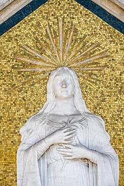 Mary with halo, mosaic with relief, cemetery island San Michele, Venice, Italy, Europe
