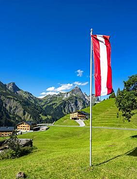 Austrian flag in Lechtal, Tyrol, Vorarlberg, Austria, Europe
