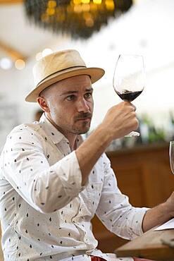 Man during wine tasting